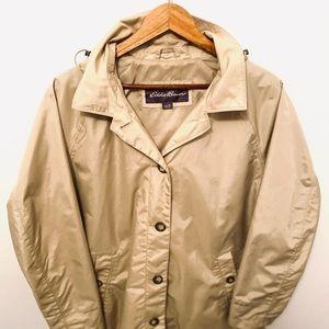 Eddie Bauer jacket beige nylon raincoat with hood!